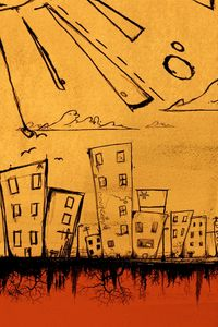 Preview wallpaper figure, drawing, city, sun