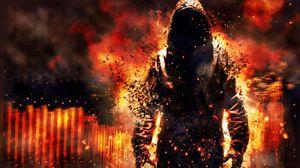 Preview wallpaper fire, destruction, debris, cape, biggin, man