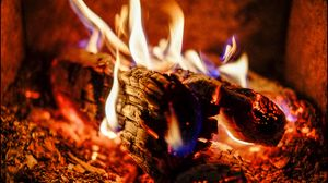 Preview wallpaper fire, firewood, coals, ash, flame
