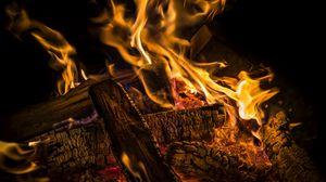 Preview wallpaper fire, firewood, coals, ash