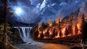 Preview wallpaper fire, lightning, moon, night, wood, mountains, falls, trees