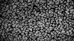 Preview wallpaper firewood, logs, wood, texture, black and white