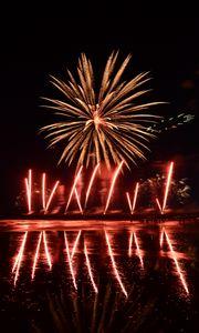 Preview wallpaper fireworks, explosion, sparks, light, dark, red