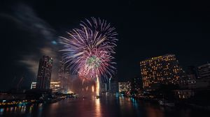 Preview wallpaper fireworks, explosions, sparks, city, water, holiday