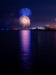 Preview wallpaper fireworks, explosions, sparks, light, purple, dark