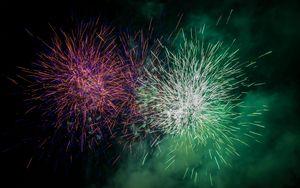 Preview wallpaper fireworks, sparks, explosion, light, cloud, green