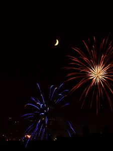 Preview wallpaper fireworks, sparks, explosions, moon, night, dark