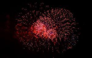 Preview wallpaper fireworks, sparks, red, celebration