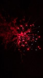 Preview wallpaper fireworks, sparks, smoke, red, dark, night