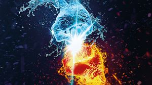 Preview wallpaper flame, water, hands, opposition, battle, sparks, splashes, art