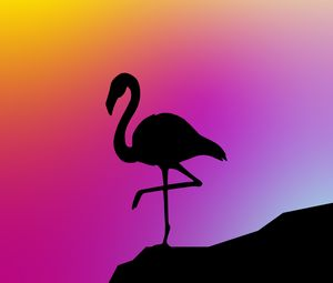 Preview wallpaper flamingo, silhouette, vector, art