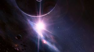 Preview wallpaper flash, planets, asteroids, stars, space