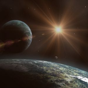 Preview wallpaper flash, shine, flare, stars, planets, space