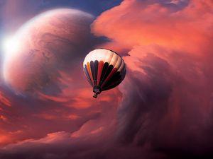 Preview wallpaper air balloon, sky, clouds, flight, moon