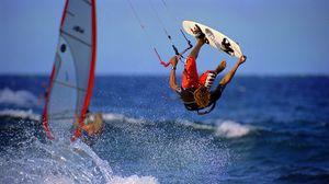 Preview wallpaper flight, board, extreme, sea