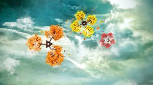 Preview wallpaper flight, flower, branch, sky, clouds, colorful