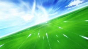 Preview wallpaper flight, movement, green, blue, grass, sky