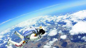 Preview wallpaper flight, sky, space, suit
