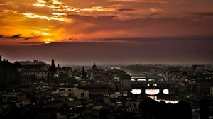 Preview wallpaper florence, italy, sunset, sky, buildings