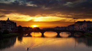 Preview wallpaper florence, river, sunset, bridge, architecture, vintage