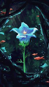 Preview wallpaper flower, petals, fish, under water, art