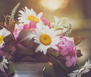 Preview wallpaper flowers, bouquet, petals, vase, aesthetics