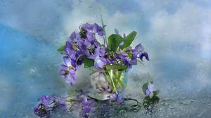 Preview wallpaper flowers, glass, petals