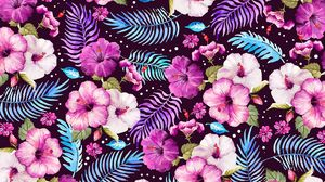 Preview wallpaper flowers, leaves, pattern, art