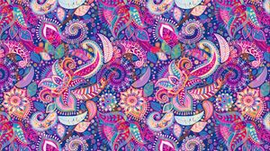 Preview wallpaper flowers, ornament, pattern, multicolored, art