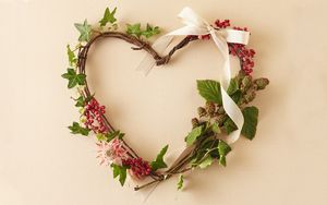 Preview wallpaper flowers, plants, branches, stems, wreath, berries, ribbon