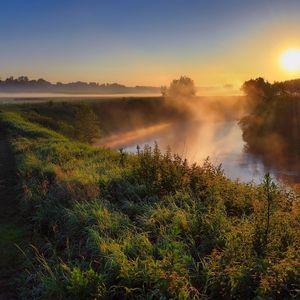 Preview wallpaper fog, haze, road, country, grass, sun, morning, dawn, river