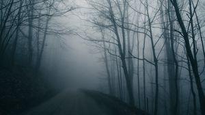 Preview wallpaper fog, road, trees, gloomy, dark