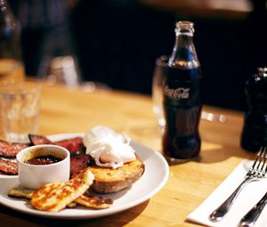 Preview wallpaper food, table, cafe, snack, sauce, coca