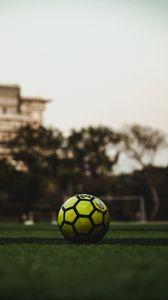 Preview wallpaper football ball, ball, football, lawn, grass