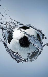 Preview wallpaper football, ball, exercise, water, abstraction