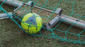Preview wallpaper football, ball, net, grass, sports