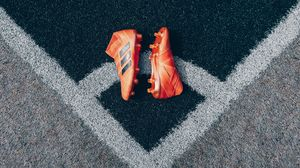 Preview wallpaper football boots, lawn, shoes