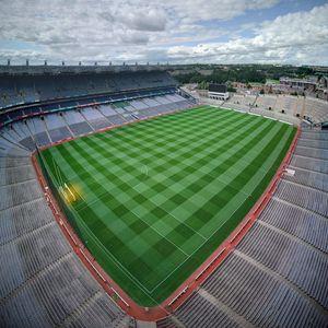 Preview wallpaper football field, field, football, aerial view