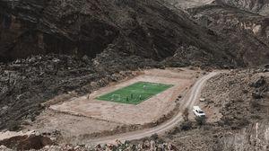 Preview wallpaper football, mountains, stadium