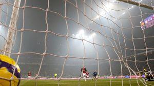 Preview wallpaper football, players, goal, gate, grid, ball