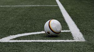 Preview wallpaper football, soccer ball, lawn, marking