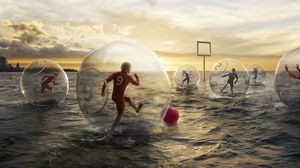 Preview wallpaper football, water, ball, sky, people