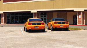 Preview wallpaper ford mustang gt350, mustang, cars, muscle cars, orange, parking
