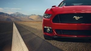 Preview wallpaper ford, mustang, gt, red, front, muscle car, before
