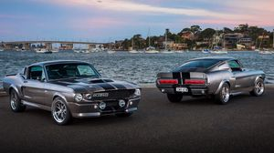 Preview wallpaper ford, mustang, silver, sea
