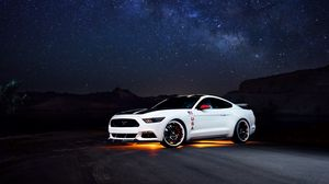 Preview wallpaper ford, mustang, white, side view, night