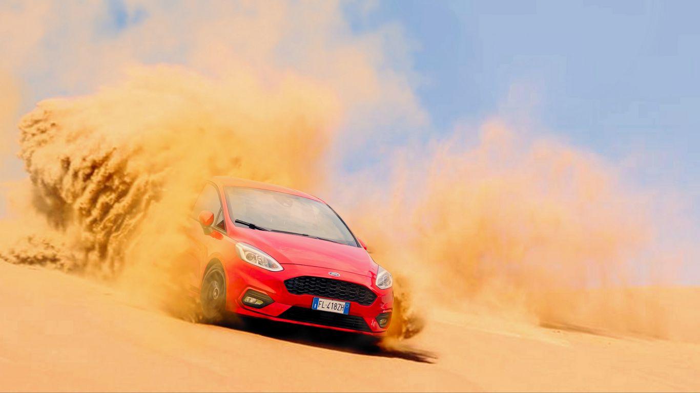 1366x768 Wallpaper ford, sand, drift, desert