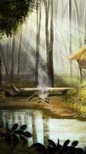Preview wallpaper forest, lake, fire, nature, art