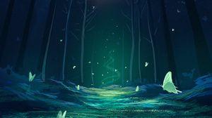 Preview wallpaper forest, magic, butterflies, fantasy, art