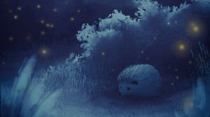 Preview wallpaper hedgehog, moon, night, forest, art
